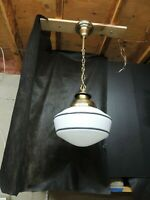 Antique Art Deco Brass w/Milk Glass Globe Hanging  Lighting Fixture