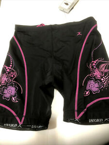 Danskin Women's Five-Inch Bike Short - Black w/Pink/Purple Flowers Triathlon NWT