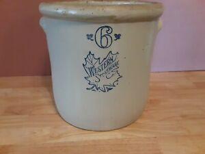 Old Vintage Western Stoneware Brand 6 Gallon Crock Stone Crockery Container