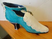 "Victorian TURQUOIS & WHITE high heel Shoe PLASTER figurine statue-8"" Long"
