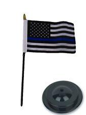 "USA Police Blue Line Memorial 4""x6"" Flag Desk Set Table Stick Staff Black Base"