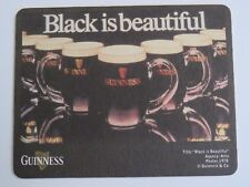 Beer Brewery Coaster: GUINNESS & Co Stout ~ Black is Beautiful ~ Dublin, IRELAND
