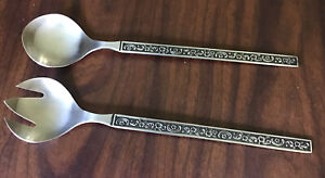 Oneida Custom Stainless Salad Serving Set Black Handle With Silver Accents