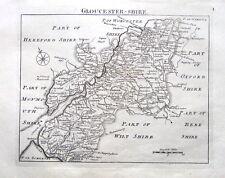 GLOUCESTERSHIRE, John Roque, Angleterre affichées, antique County Carte 1769