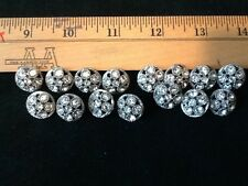 (15) Shank  RHINESTONE BUTTONS~Sewing~Crafts~Jewelry Making~VINTAGE~Metal Base