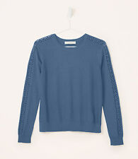 NWT Ann Taylor Loft Lacy Sleeve Sweater Color Blue Size L