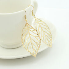 Elegant Silver Gold Plated Hollow Out Leaf Drop Hook Dangle Earrings Jewelry NEW