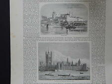 19th Century Engraving #21 Windsor Castle, Houses of Parliament And Westminister