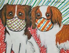 Nederlandse Kooikerhondje Quarantine Original 9x12 Painting Dog Art KSams Masks