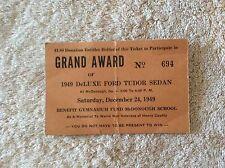 Raffle Ticket For A 1949 DeLuxe Ford Tudor Sedan
