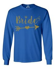 Gold Bride With Heart Long Sleeve Marriage Bachelorette Party Shirts