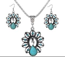 Ethnic Lady Peacock Turquoise Pendant Chain Necklace Earrings Bridal Jewelry Set
