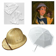 Jane Fancy Dress Costume Umbrella White Gloves Explorer Hat Ladies Tarzan Disney