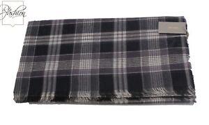 NWT Authentic Tom Ford Scarf Black & Purple Plaid Cashmere Blend #Tf517