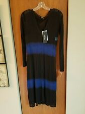 Strenesse by Gabriele Sheer blk/navy 2 tone slip dress. Vintage.Brand New.Size 8