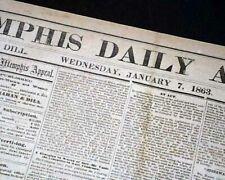 Rare Confederate Memphis Tn Tennessee in Jackson Ms Civil War 1863 Old Newspaper