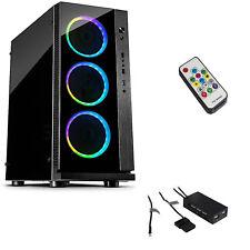 W-III RGB  Gaming Tower PC ATX Gehäuse Tempered Glass LED Lüfter Fernbedienung