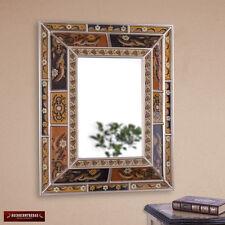 "Handmade Reverse Painted Glass Wood Rectangular Large Wall Mirror Decor, ""Fall"""