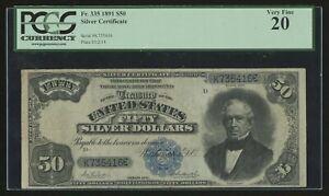 FR335 $50 1891 SILVER CERTIFICATE PCGS 20 VF+ WLN532