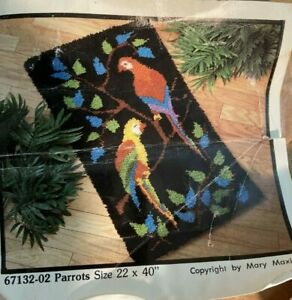 "Vtg Mary Maxim Parrot Latch Hook Rug Wall Hanging Kit 22"" x 40"" 67132-02 NIB"