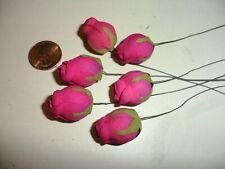 6 Vintage Fuchia Pink Cloth Rose Buds Japan