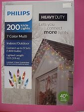 PHILIPS ICICLE LIGHTS CHRISTMAS LIGHTS 200 ICICLE LIGHTS HEAVY DUTY MULTI-COLOR