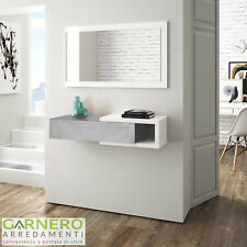 Mobile ingresso sospeso Mercury cemento bianco cassetto specchio moderno design