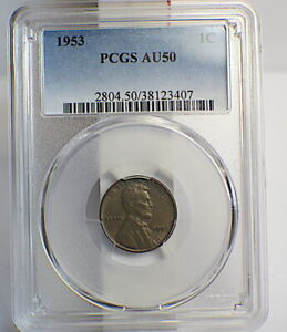 1953 PCGS AU 50 LINCOLN WHEAT PENNY 1C