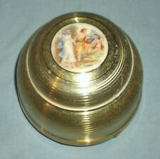 Vintage Brass Colored Aluminum Musical Powder Box Works Bible Times Scene