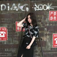 Women Japanese Crane Print Tops Harajuku Loose Fit Shirt Black White Crane Tops