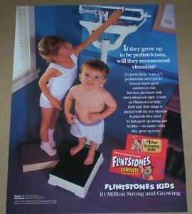 1999 print ad page - Flintstones Kids vitamins Cute little Girl Boy advertising