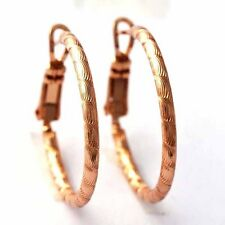 Vintage Solid yellow Gold Filled Girl Round Circle Hoop Shining Huggie Earrings
