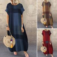 UK Women Summer Short Sleeve Check Casual Loose Kaftan Long Maxi Dress Plus Size