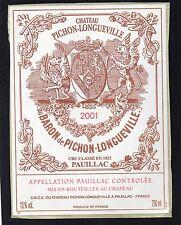 PAUILLAC 2EME GCC ETIQUETTE CHATEAU PICHON LONGUEVILLE BARON 2001 75 CL  §23/12§