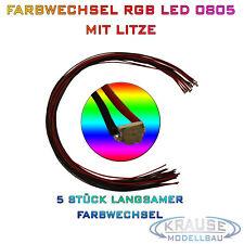 KM0161 5 Stück SMD LED 0805 RGB langsamer Farbwechsel mit Decoderlitze 0,05mm²