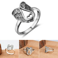 925 Sterling Silver Band Ring Mom Gift Vintage Angel Wings Rings Party Jewelry