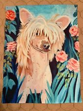 Chinese Crested Garden Flag (pink flowers)