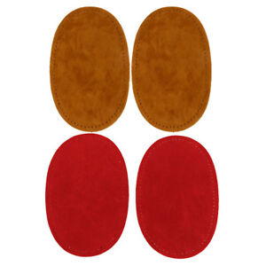 2 Pairs Suede Leather Sew-on Oval Elbow Knee Patches Applique DIY Sewing
