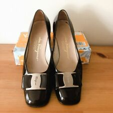 Vintage Salvatore Ferragamo Pump Shoes 6B Patent Leather Black Color