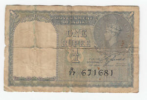 Government Of India One 1 Rupee 1940 George VI King Emperor - England Note