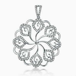 Pearl 8mm to 15mm Natural Diamond Solid 18K White Gold Luxurious Flower Pendant