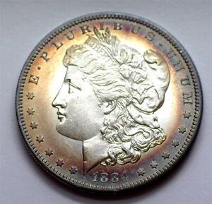 1884-S MORGAN SILVER DOLLAR UNCIRCULATED+ BEAUTIFUL TONING!! RARE THIS NICE!!