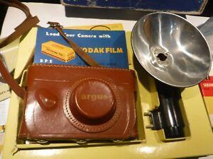 Vintage Argus C-3 Camera Set 35MM, Light meter, Flash, Case etc