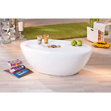Table basse table de salon d´appoint moderne design oval BLANC BRILLANT