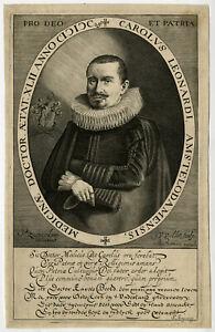 Rare Antique Master Print-CAROLUS LEONARDI-PHYSICIAN-Saenredam-Van de Velde-1629