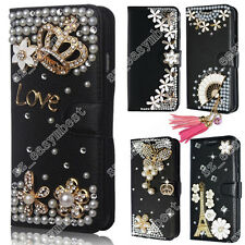 Stylish 3D Diamond Crystal Leather Wallet Case Bling Flip Cover for Cell Phone