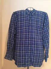 Men's Eddie Bauer Long Sleeve Flannel Shirt Plaid Navy 3XLT Relaxed Fit Button