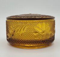 Vintage Amber Round Trinket/Candy Dish w/Lid Floral design Tiara Indiana
