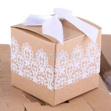 50Pcs Kraft Paper Candy Gift Boxes with Bow Lace Ribbon Wedding Party Favor