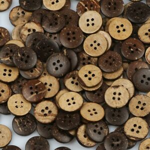 20/50/100pcs Coconut Shell 4 Holes Round Buttons Sewing Scrapbooking Craft 15mm